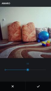 регулировка ползунка фильтра Инстаграм